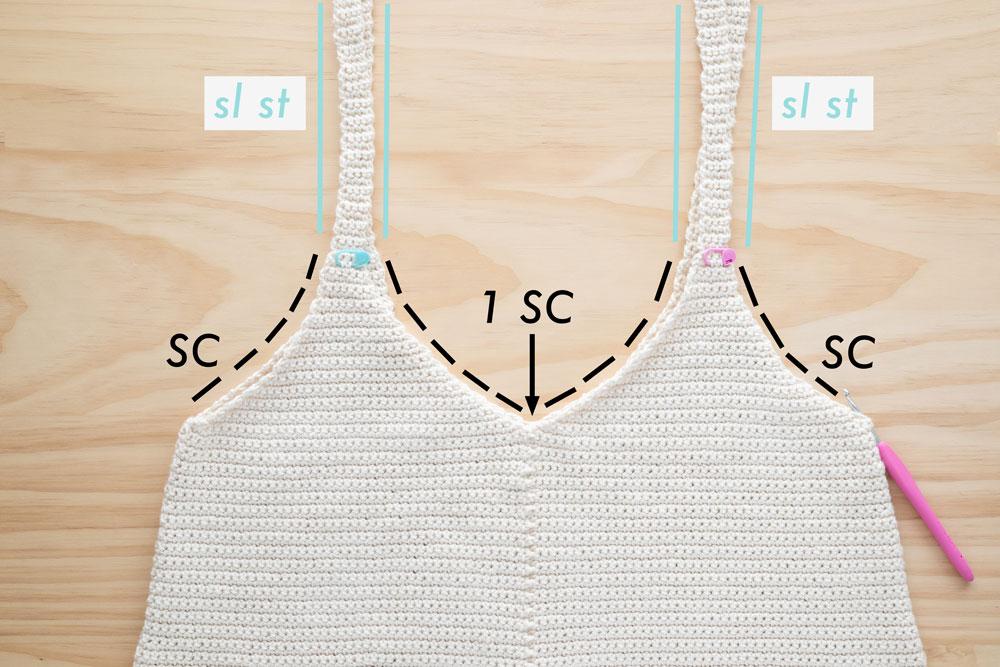 slip stitch and single crochet edging on v neck tank top