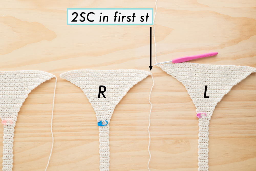 joining left crochet triangle to the right crochet triangle
