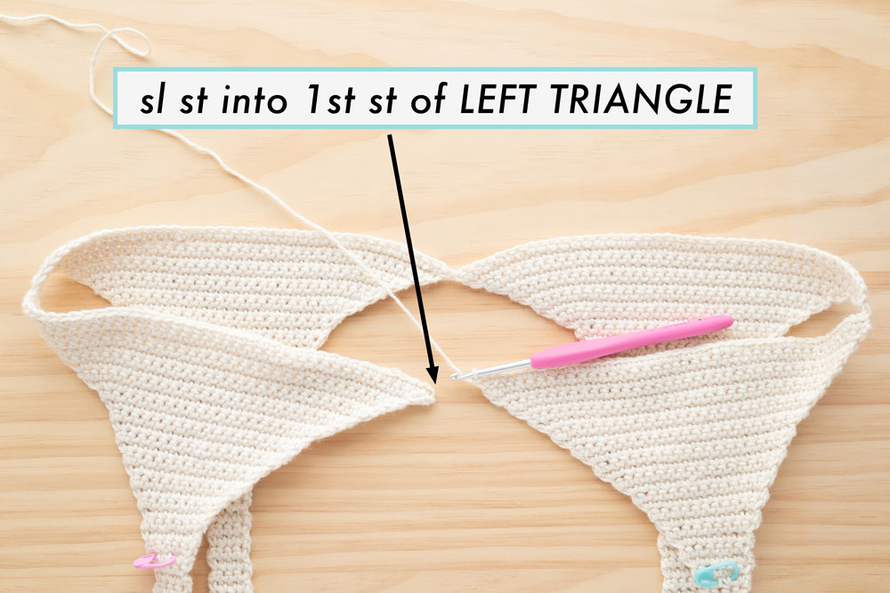sl st the into the first st of left triangle to join triangles into a round