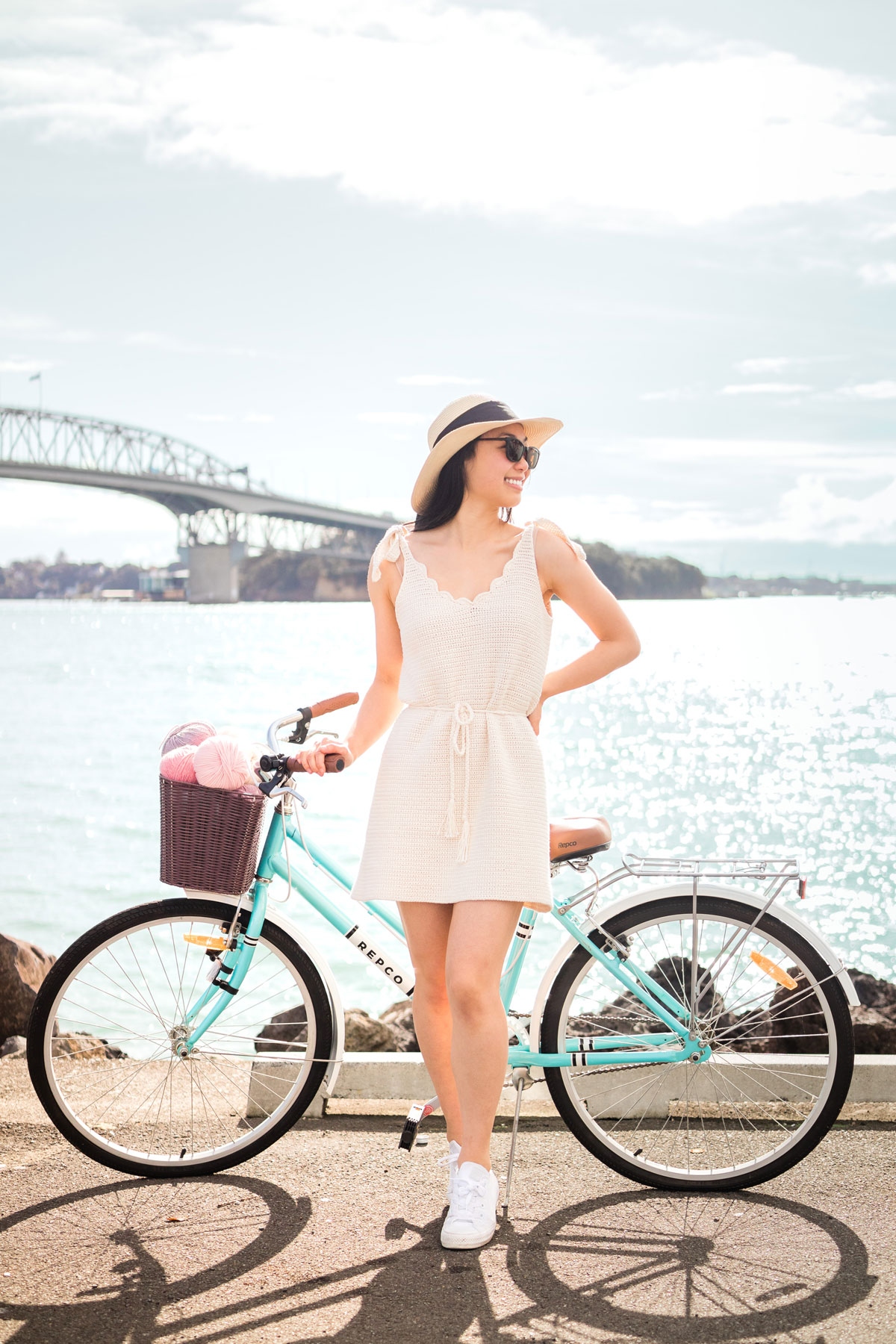 summer crochet dress with tie straps and scallop v-neck with bike and yarn basket