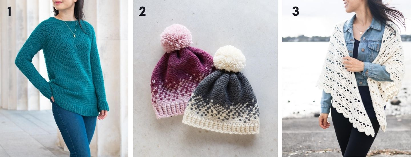 more free crochet patterns featuring easy crochet sweater fair isle beanie and scallop wrap