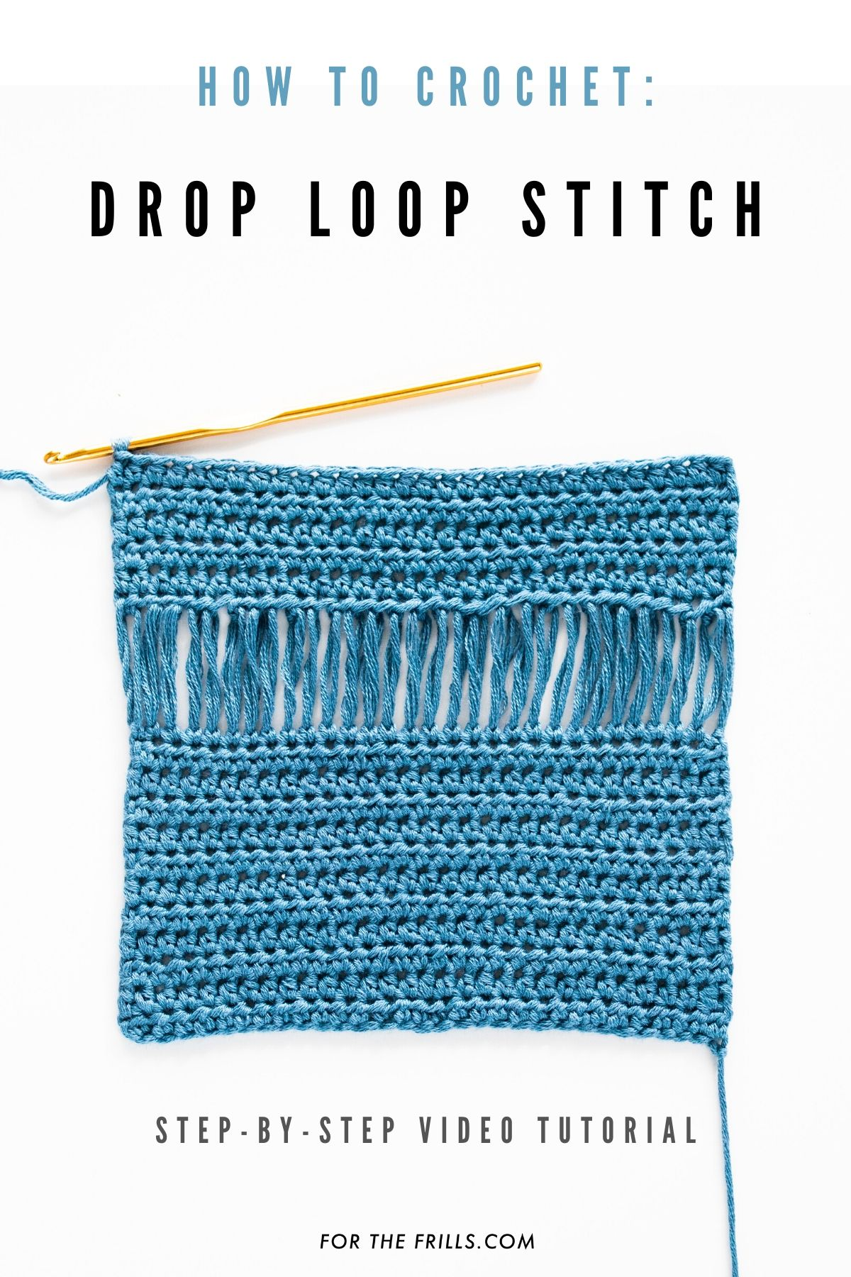 close up of drop loop crochet stitch vertical mesh with gold crochet hook pinterest image