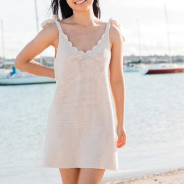 crochet summer dress with scallop v-neck edging and tie straps
