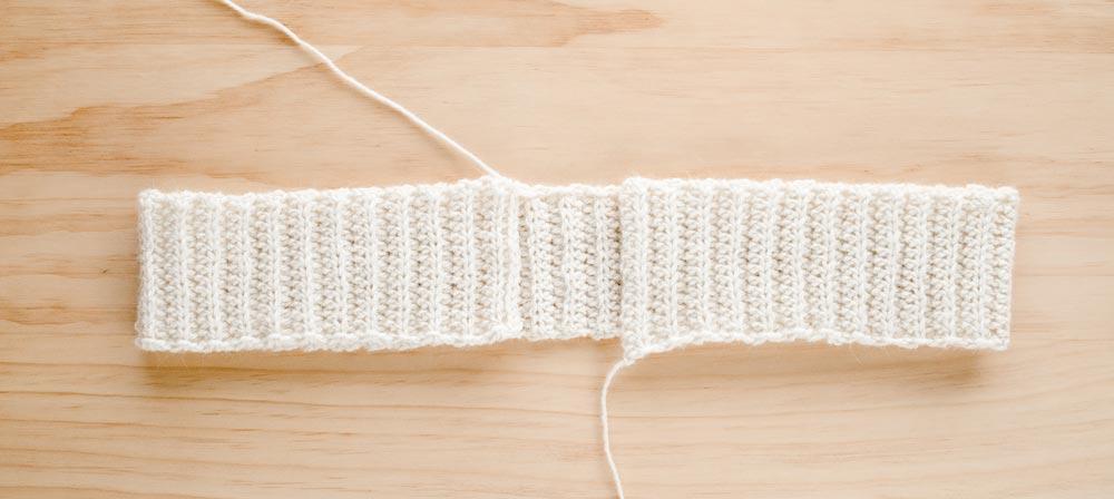 back loop half double crochet ribbing for v-neck cardigan