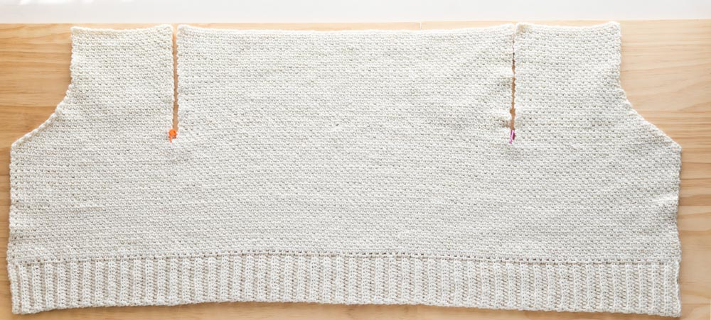 body panel of v-neck crochet cardigan