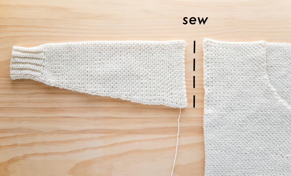 sew crochet sleeves to armhole