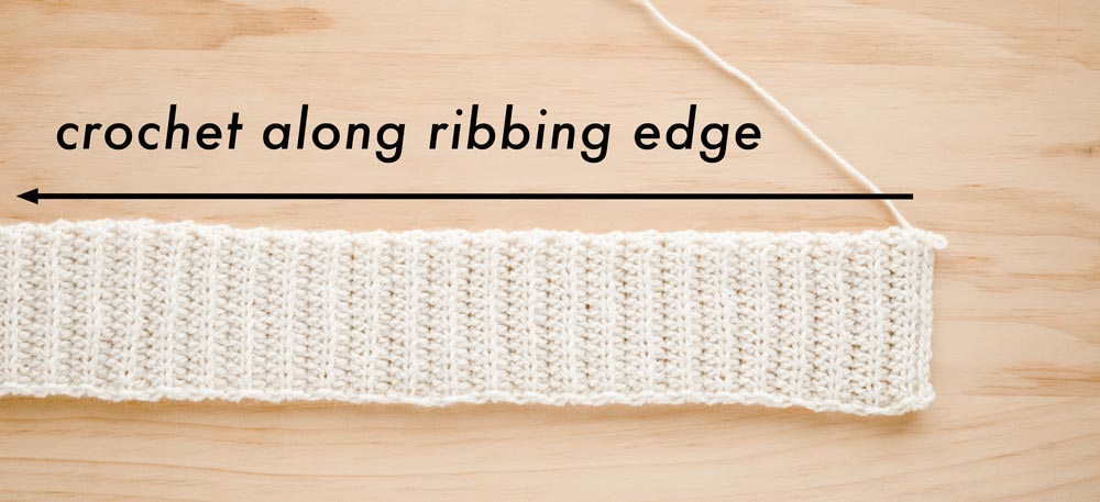 crochet linen moss stitch along the long edge of the ribbing