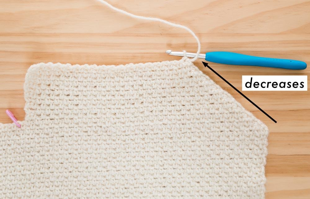 crochet cardigan v-neckline stitch decreases