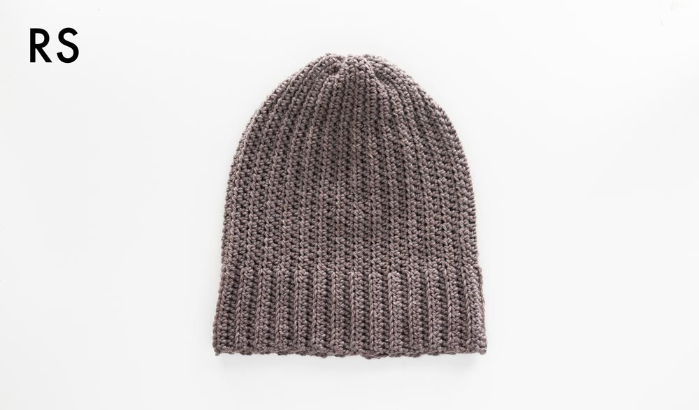 simple crochet beanie with ribbed brim