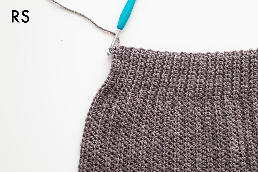 close up of the right side of simple crochet beanie