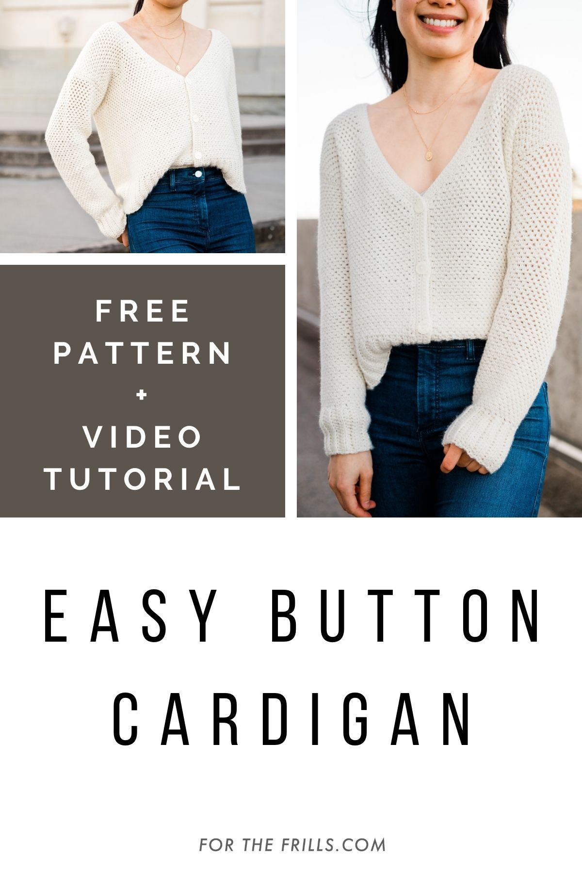 pinterest graphic of cream crochet v-neck cardigan with buttons