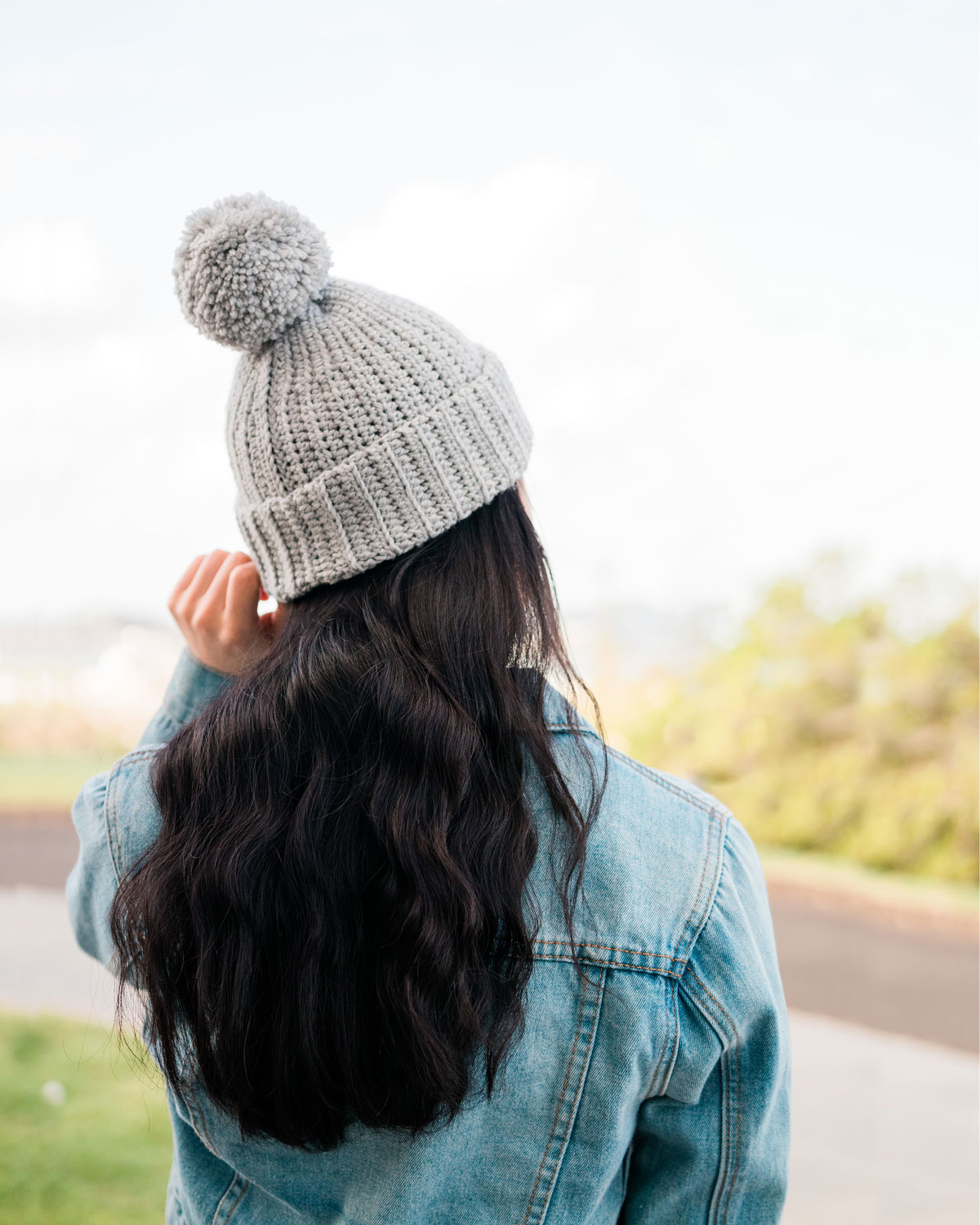grey ribbed crochet beanie with pom pom
