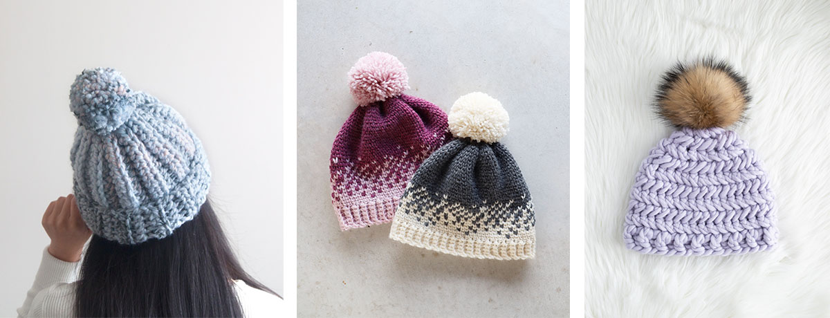 quick and easy crochet beanie, pom pom fair isle crochet beanie and herringbone stitch crochet beanie