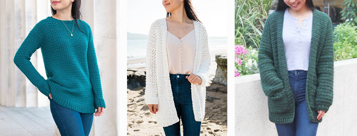 emerald slouchy crochet sweater, white textured crochet cardigan and oversized cardigan with pockets