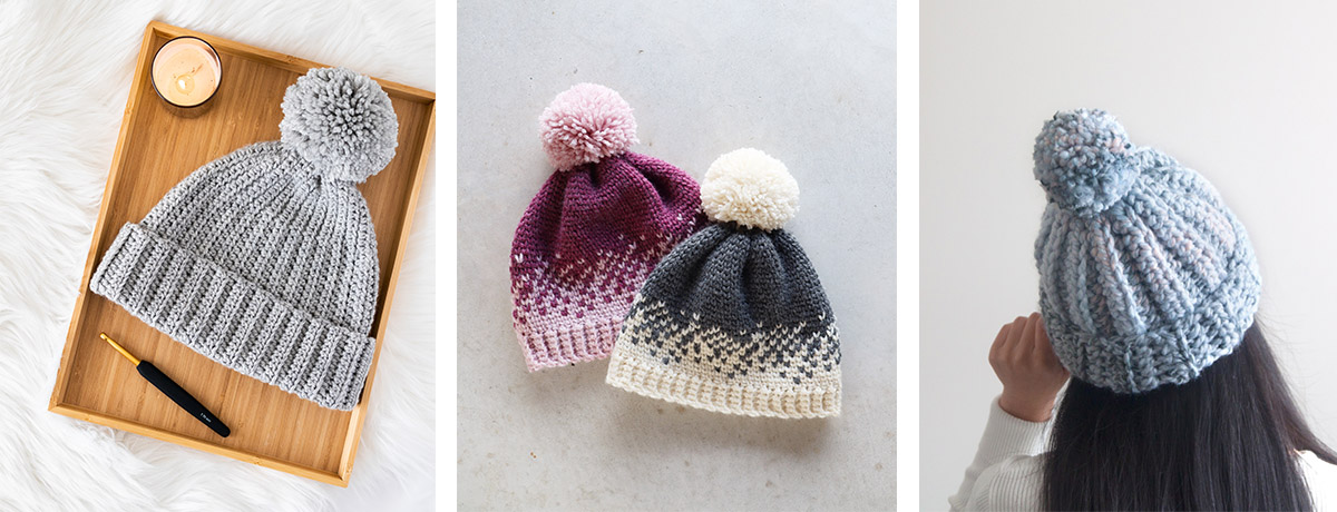 easy everyday grey crochet beanie with yarn pom pom, fair isle crochet ombre heart beanie and chunky 1 hour crochet beanie