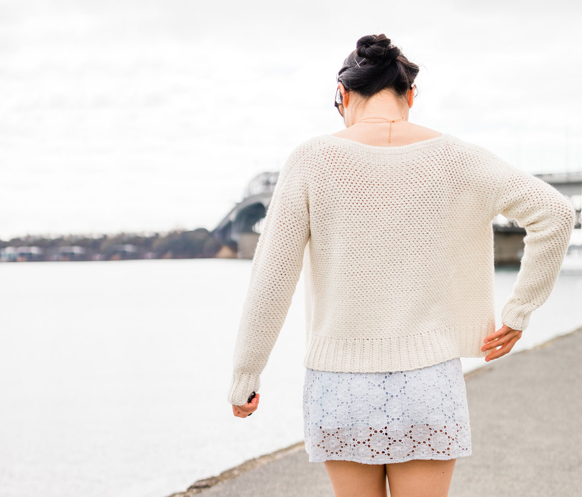 back view of linen stitch cropped crochet cardigan