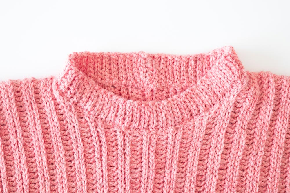 right side of finished crochet collar with slip stitch ribbing on ribbed sweater