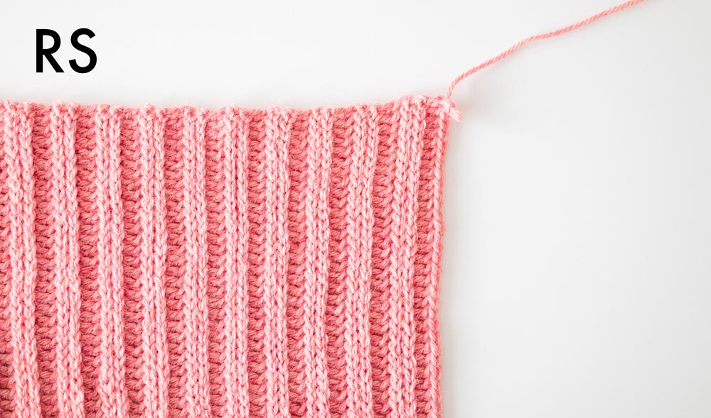 close up of right side of knit look ribbed crochet stitches
