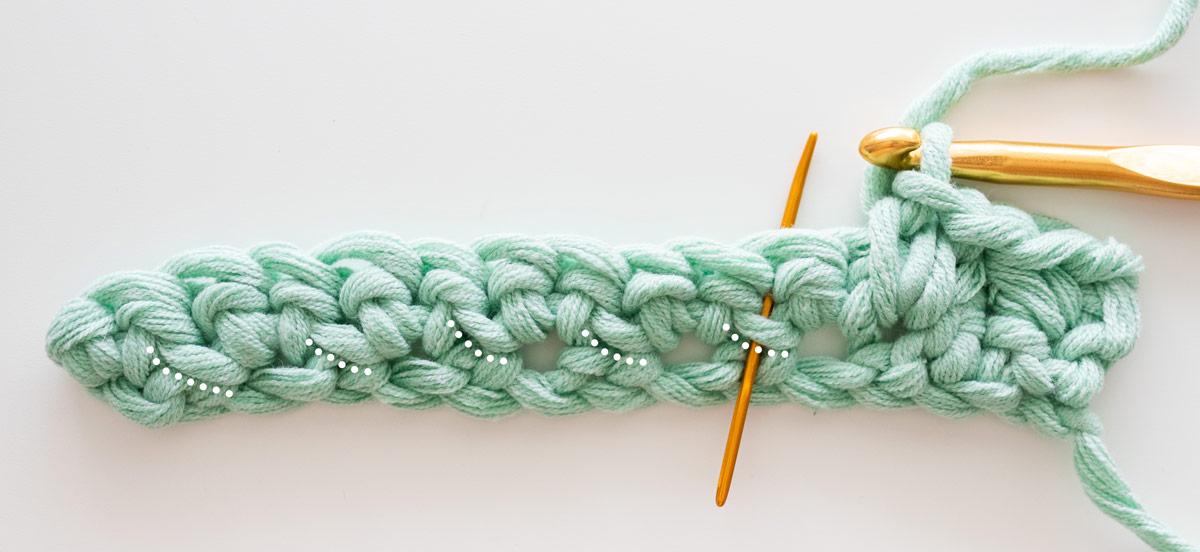cluster linen stitch until one stitch left