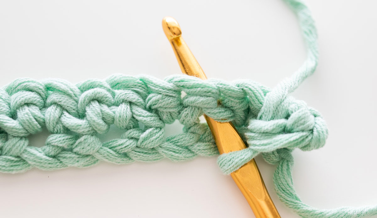 crochet hook inserted into stitch