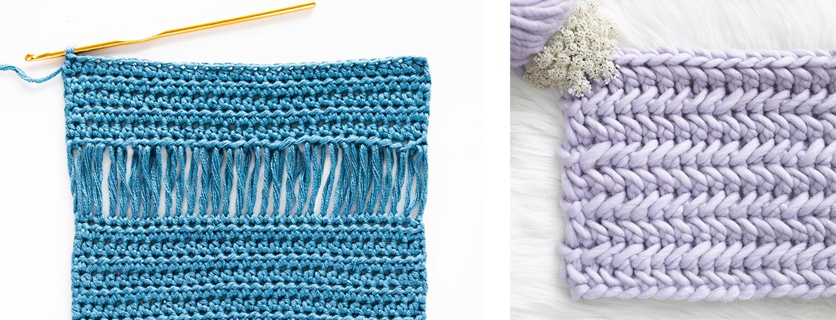 crochet swatches of drop loop stitch in bamboo yarn and herringbone single crochet in wool yarn
