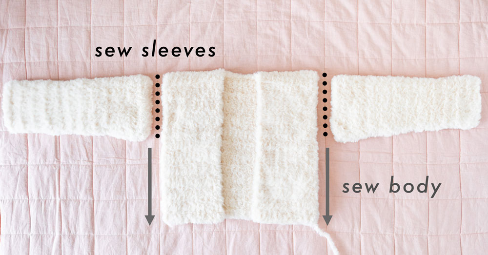 assembly to sew sleeves to body on fluffy crochet coat