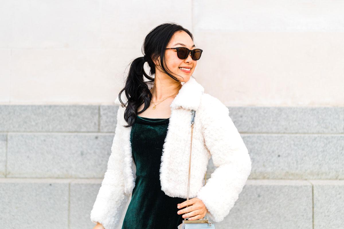 cream fluffy crochet jacket with green velvet dress