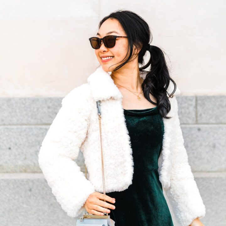 close up on fluffy crochet faux fur cropped jacket