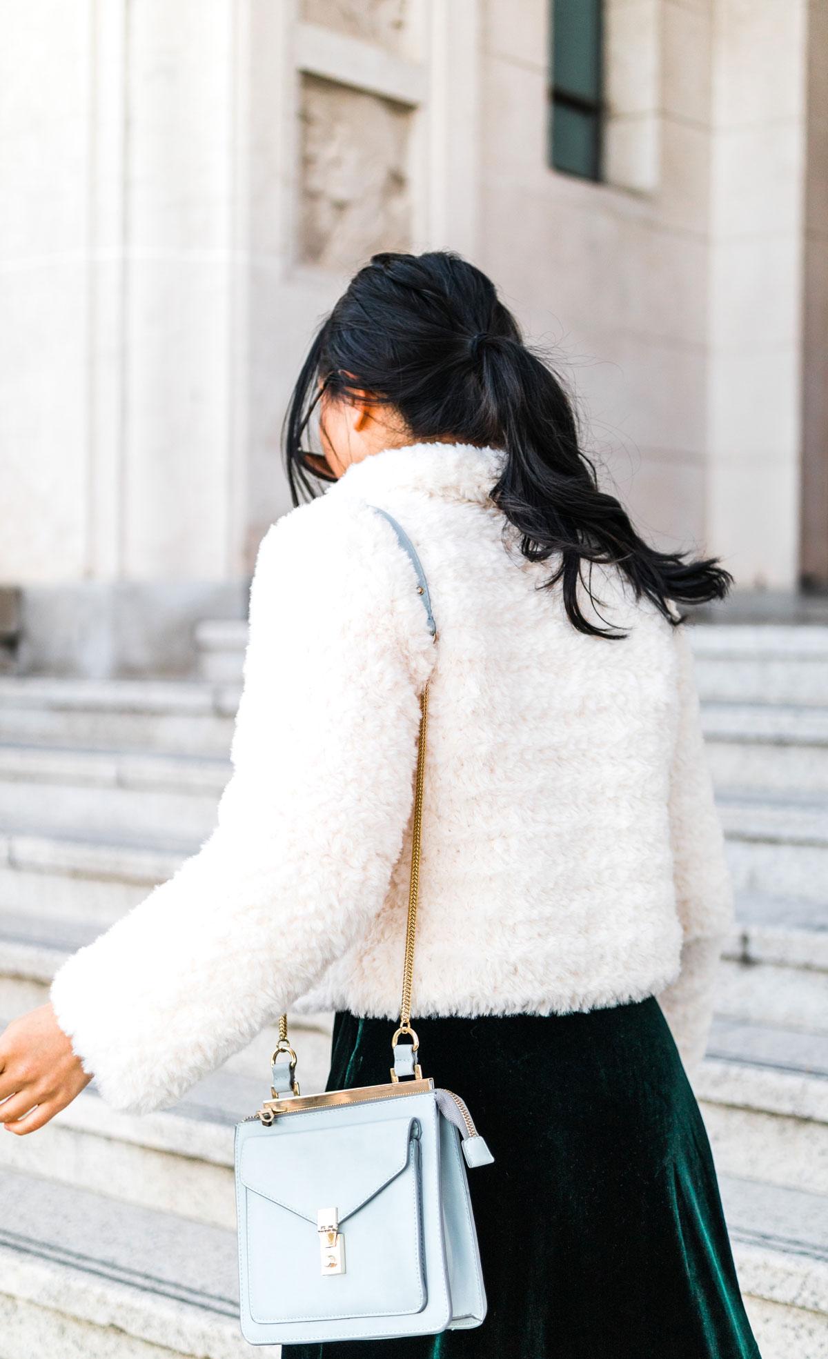 back view of fluffy faux fur crochet coat jacket