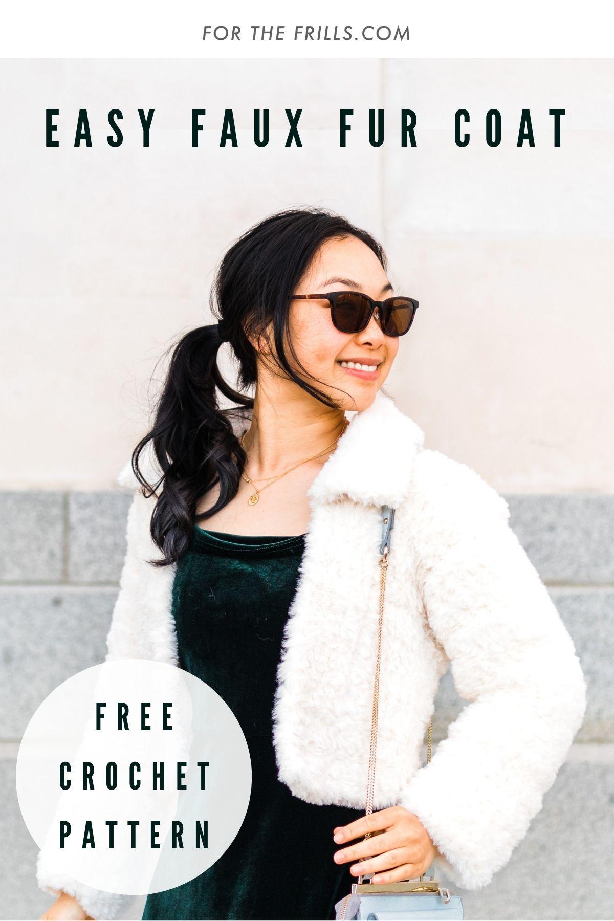 pinterest image of easy faux fur winter crochet coat DIY with free crochet pattern