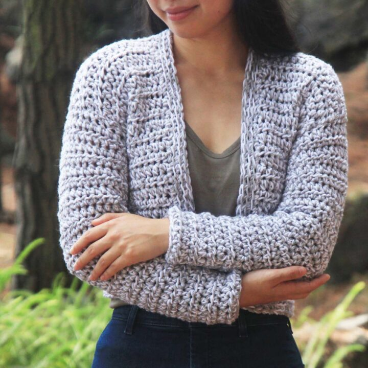 white and grey marled merino cardigan