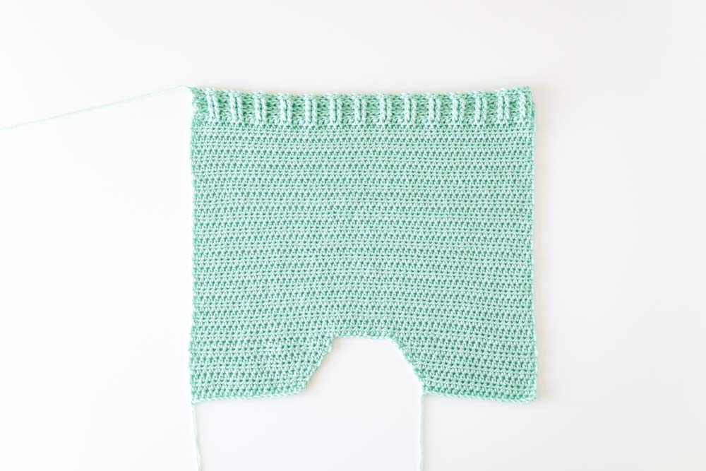 crochet sweater finished front panel with front and back post half double crochet ribbing