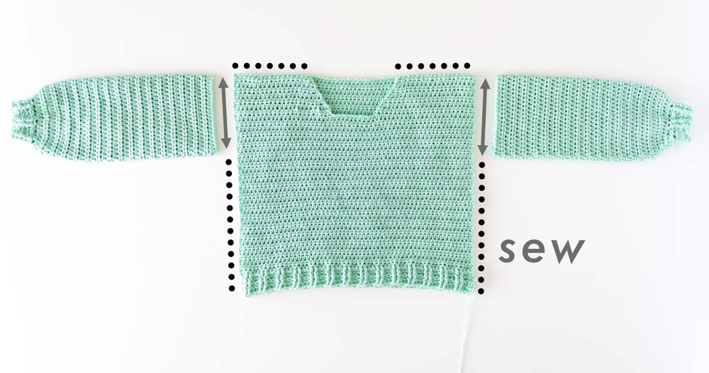 crochet sweater sleeves, front and back panels to be sewn together