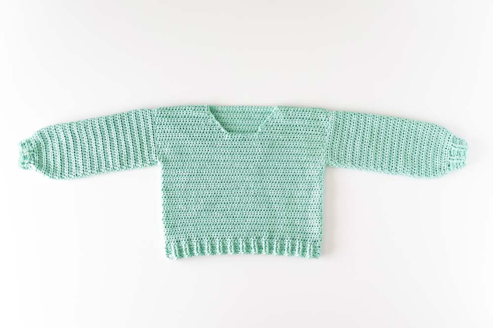 mint green crochet pullover sweater without a collar