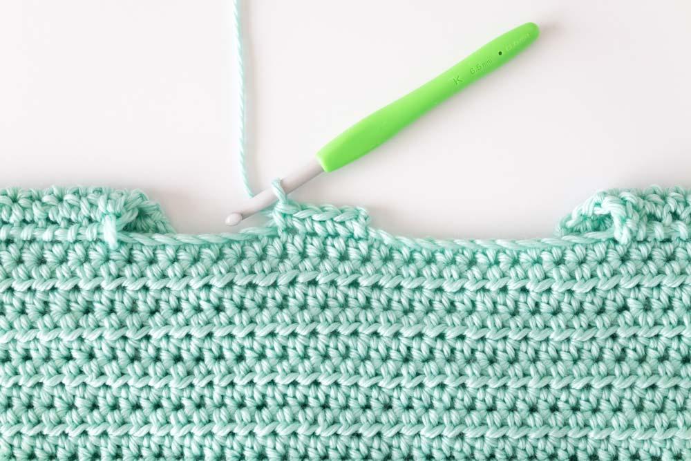 single crochets along neckline of sweater