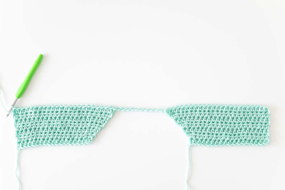 mint crochet jumper front panels connected