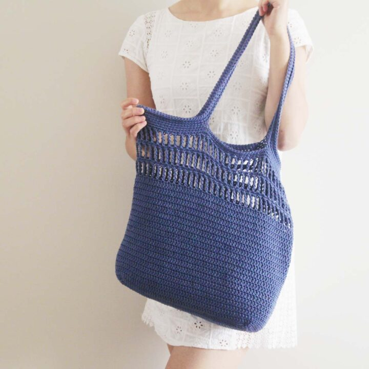 handmade crochet market tote bag with mesh details and long handles