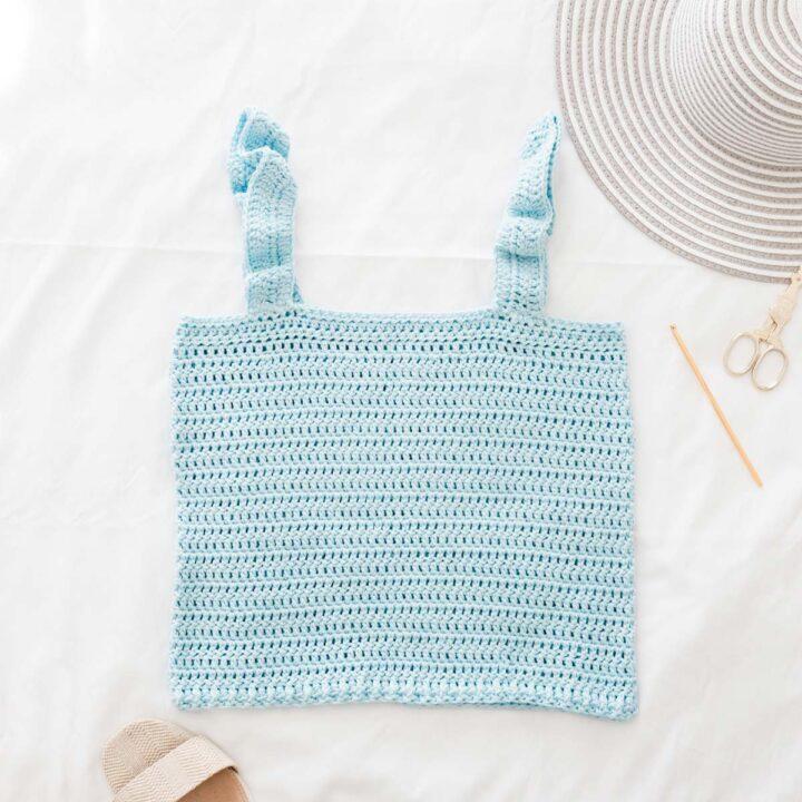 light blue ruffle strap crochet tank top with cotton yarn