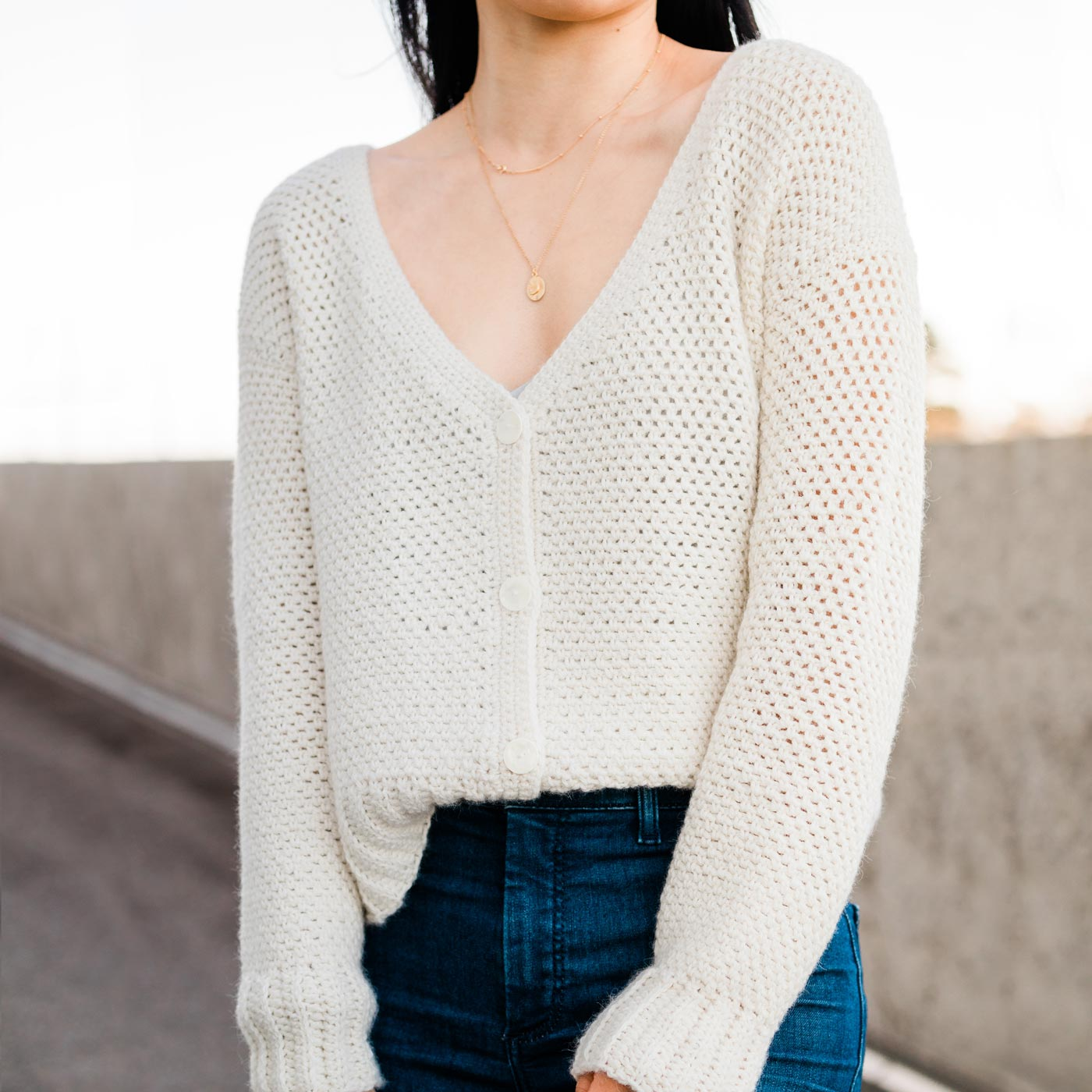 easy button down crochet cardigan with linen stitch texture