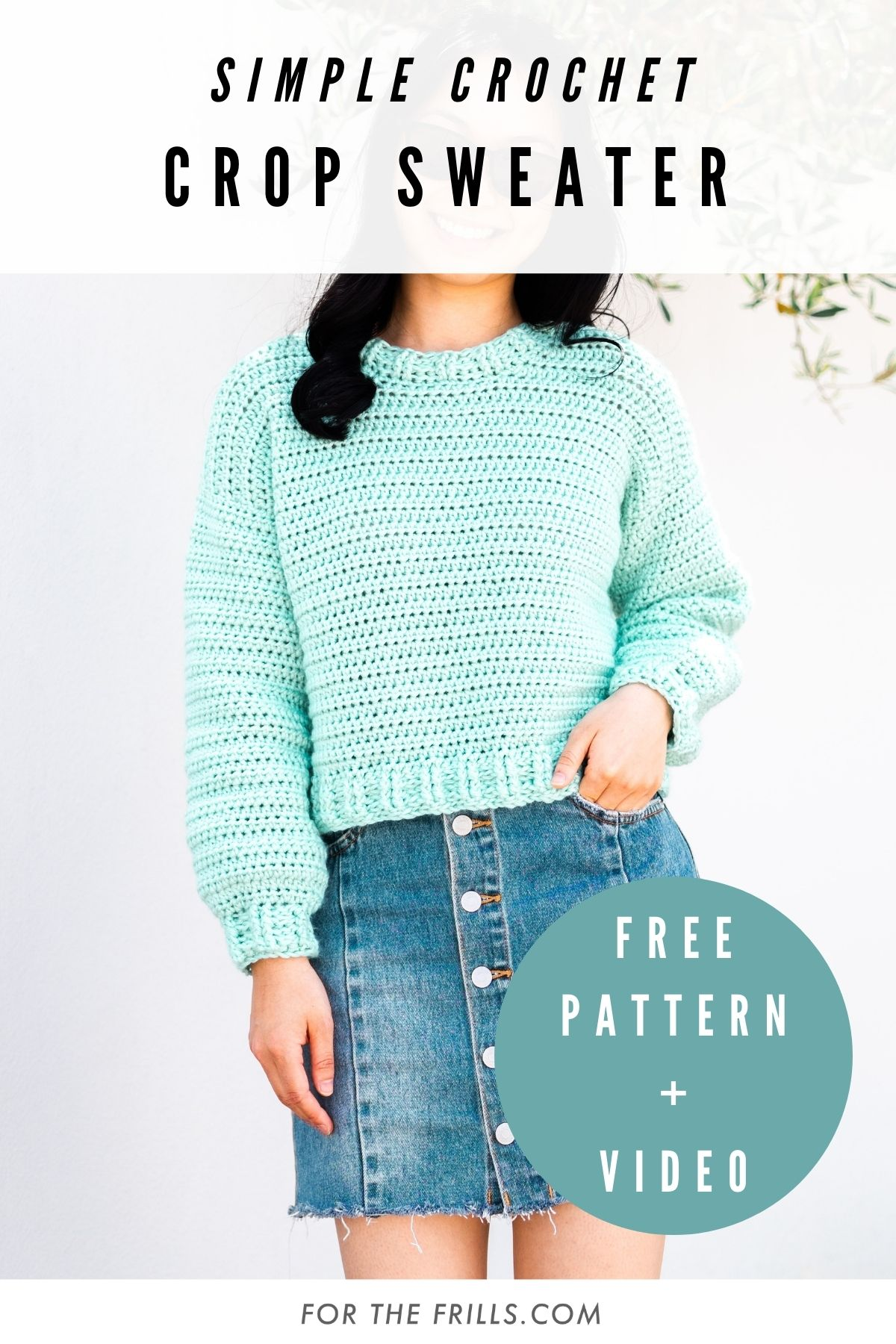 pin image of min green cropped crochet sweater with free crochet pattern and video text