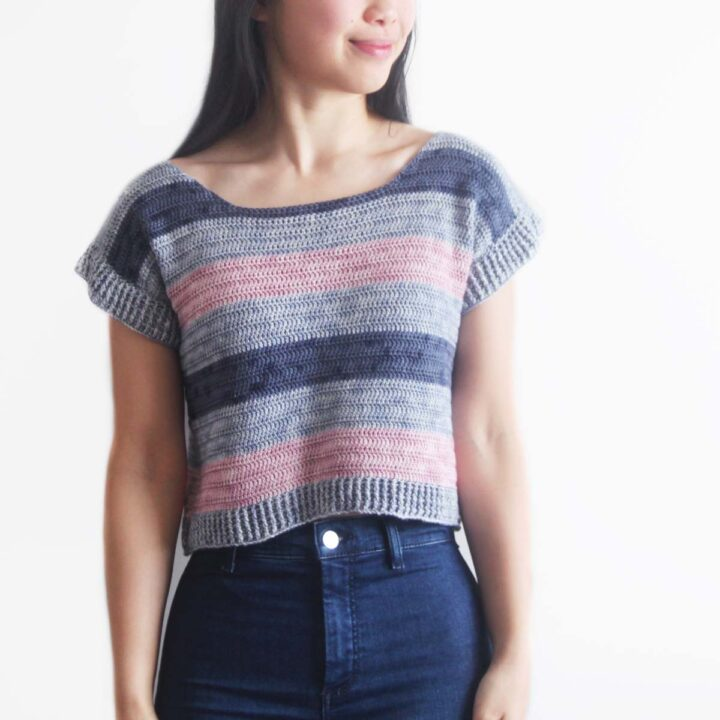 striped crochet top in pink, blue and navy stripes