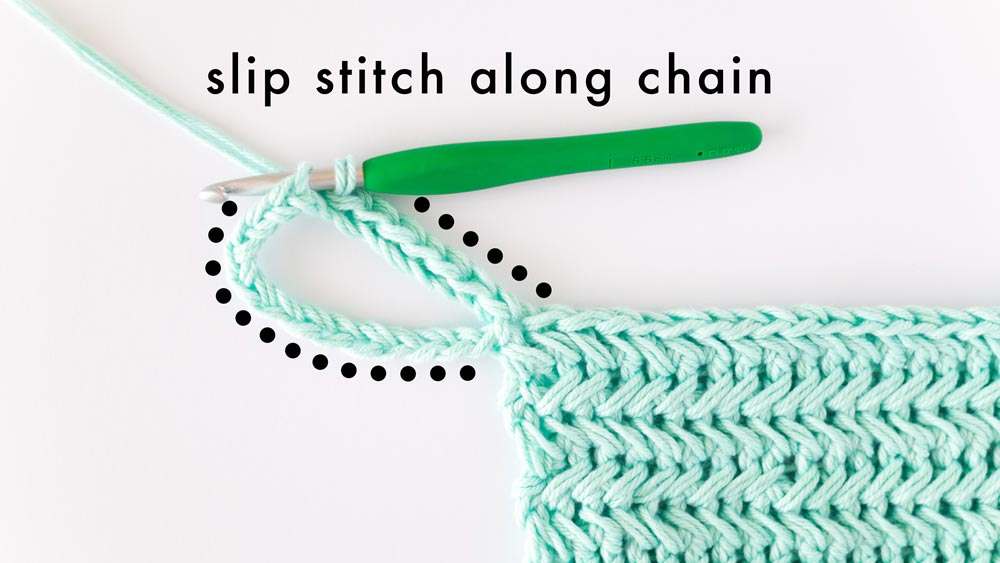 slip stitches worked in loop chain on crochet hot pad