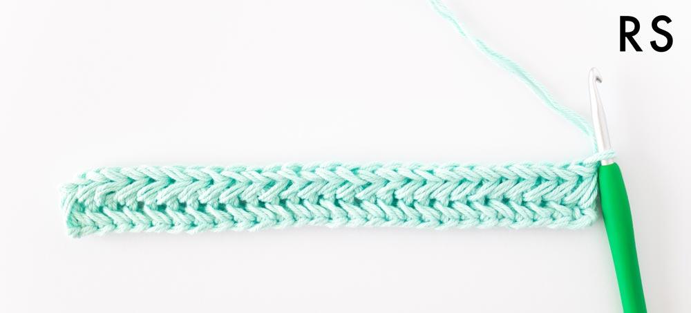 right side of row 2 of herringbone single crochet stitch