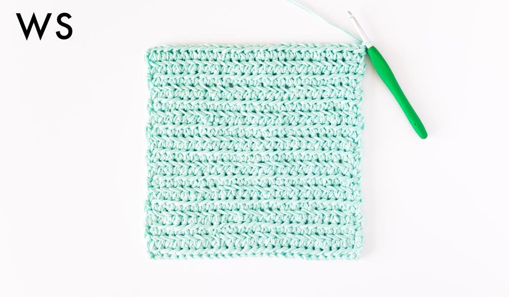 wrong side of chevron single crochet stitch swatch