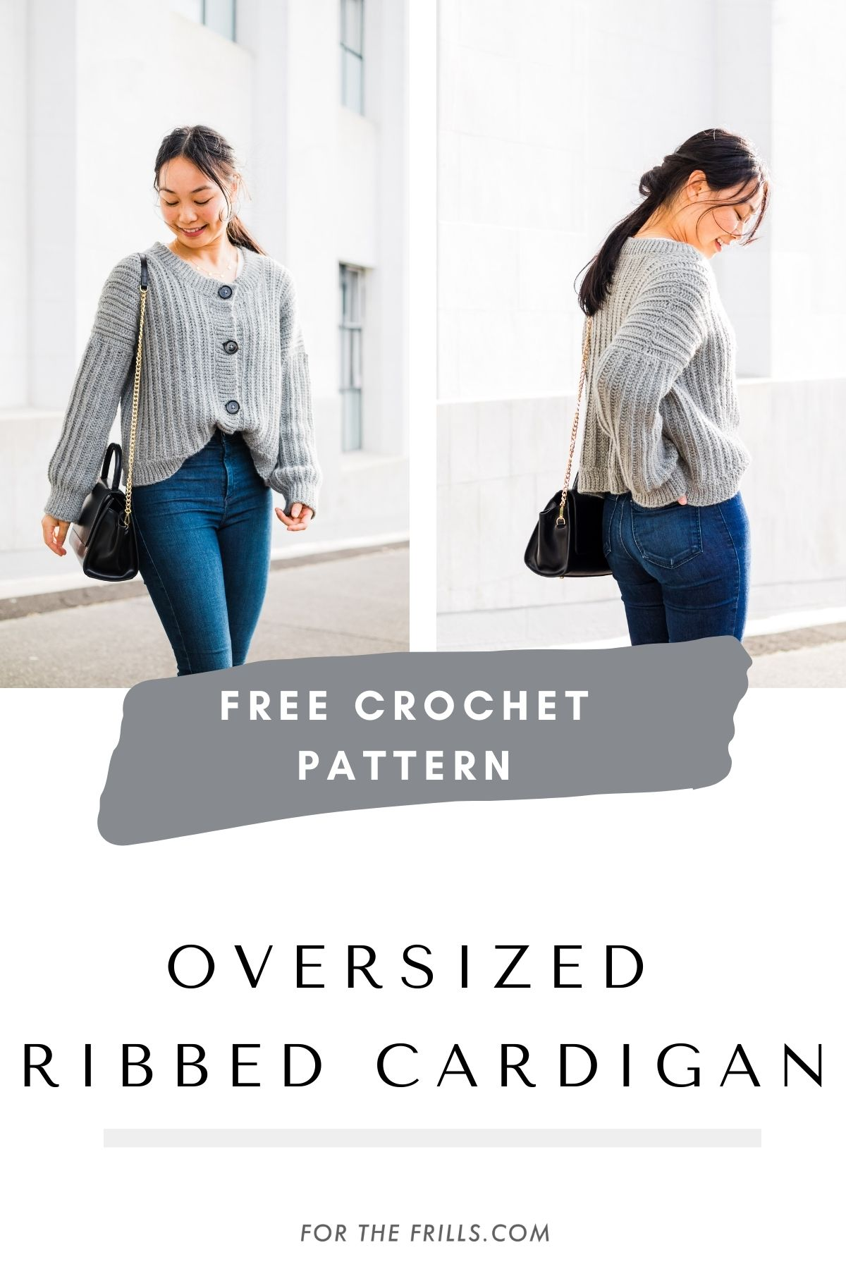 pinterest graphic with oversized grey cardigan crocheted with large black buttons and ribbed textured