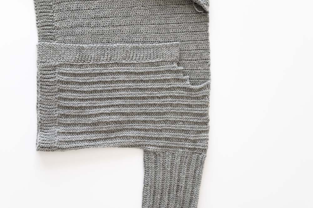 back loop slip stitch ribbing sewn to crochet cardigan opening