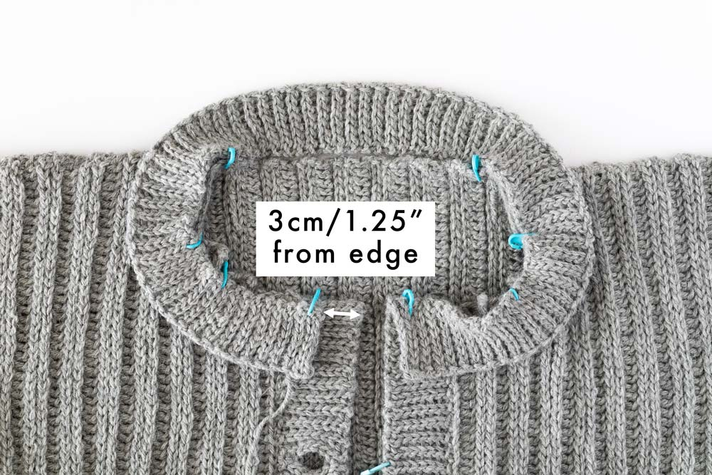 close up on neckline ribbing on round neck ribbed cardigan crochet pattern