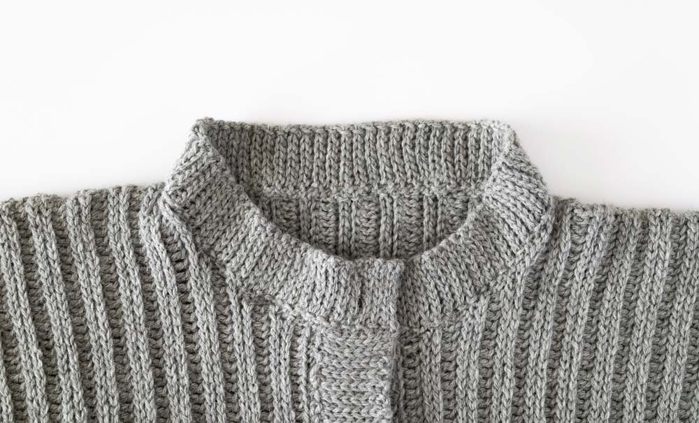 finished ribbed round neck cardigan