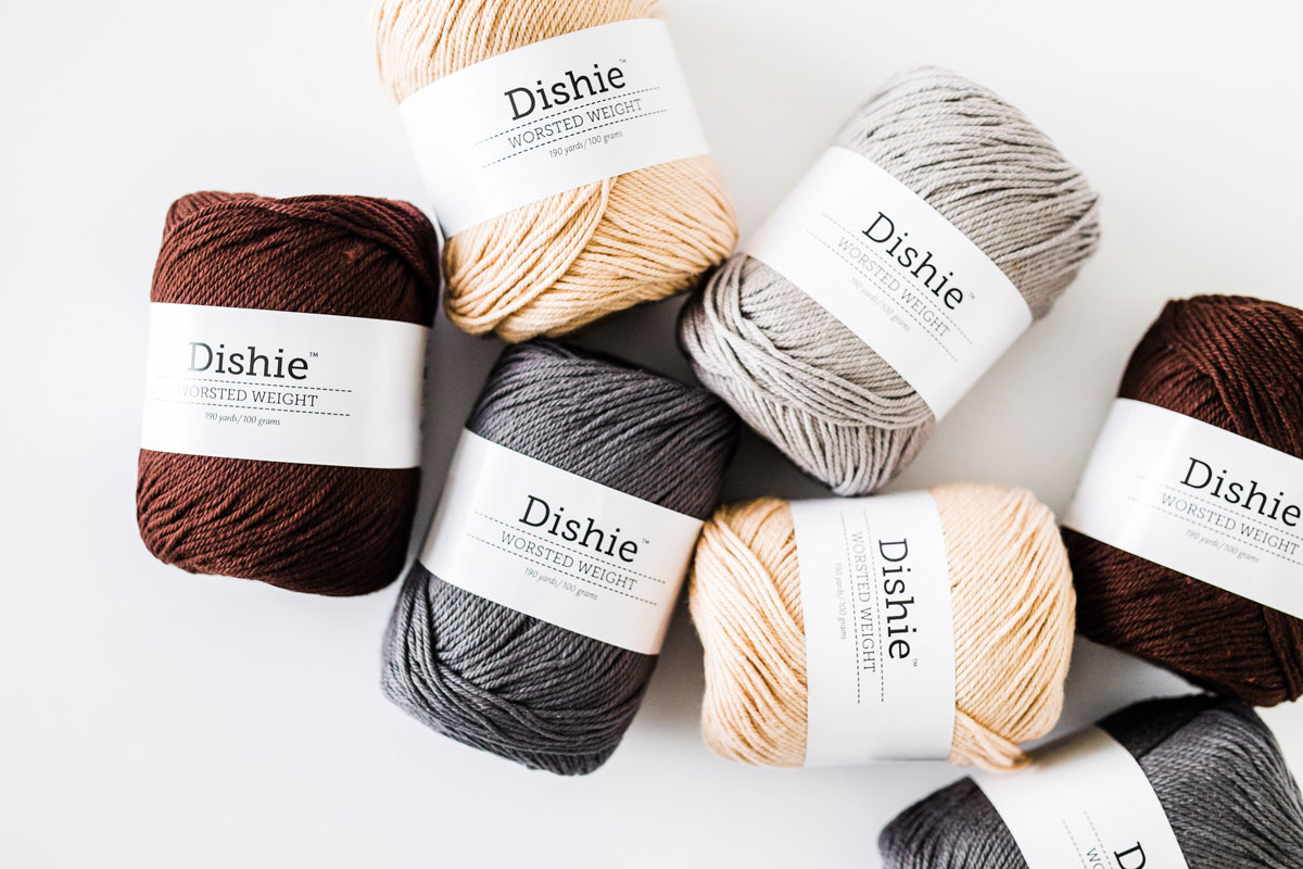 we crochet knit picks dishie yarn in cotton shades linen, silver, ash and coffee