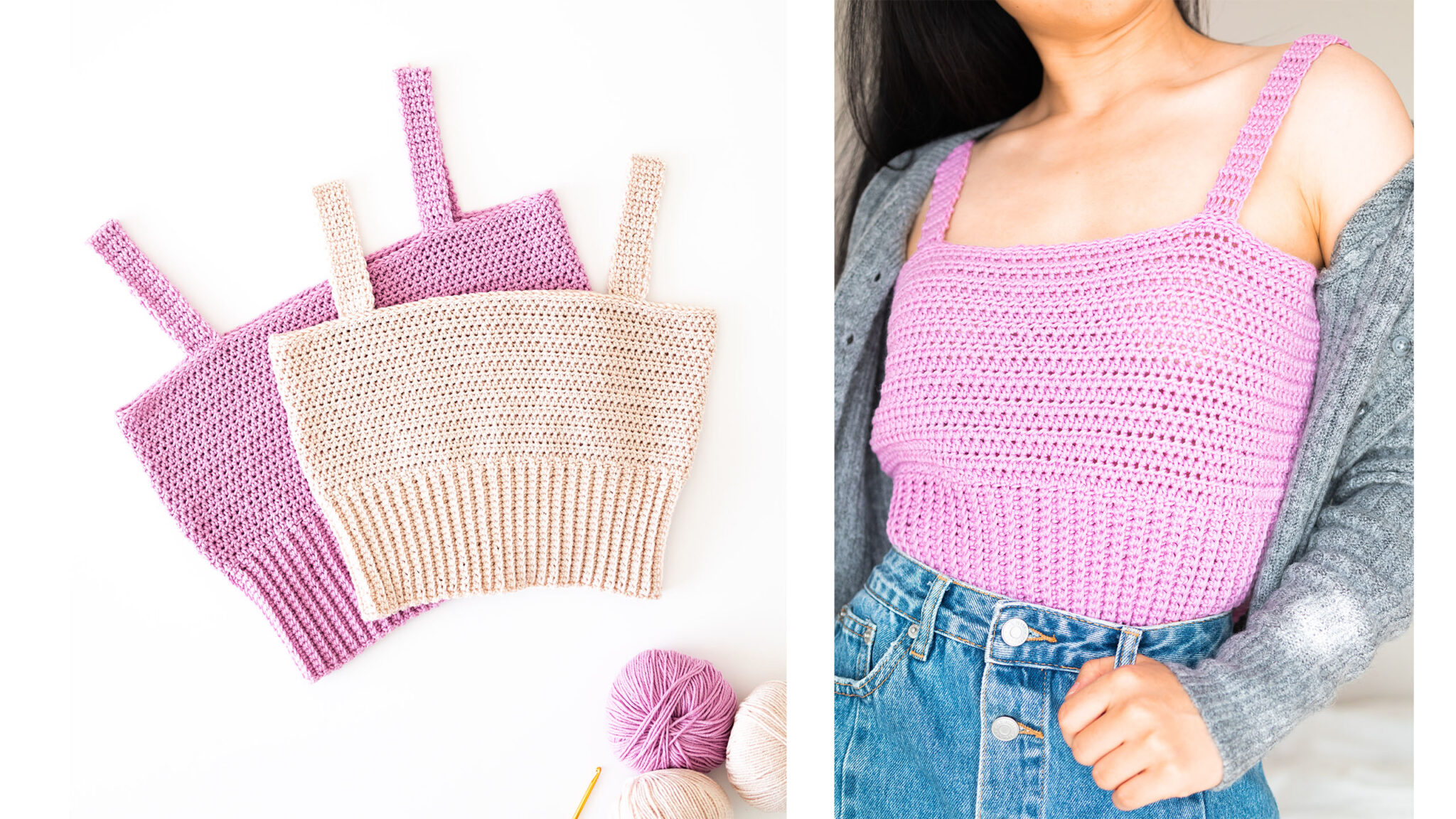 left image of 2 crochet cropped tanks stacked on top of each other and right image of lilac crop top tucked into denim skirt